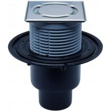 HL vpust DN50/75/110 podlahová, se svislým odtokem a zápachovým uzávěrem, polyetylen/nerez