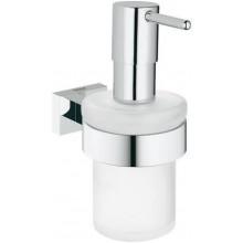 GROHE ESSENTIALS CUBE dávkovač mýdla 72mm, s držákem, sklo/kov