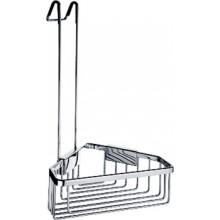 Doplněk polička Nimco Kibo drátěná, rohová s hákem pro zavěšení ve sprch. 22,5x22,5x40 cm