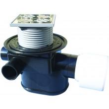 HL vpust DN75/110 podlahová, s vodorovným odtokem a uzávěrem proti vzduté vodě, polyetylen/nerez