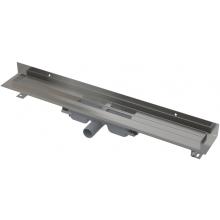 CONCEPT 100 LOW podlahový žlab 750x60mm snížený, s okrajem pro plný rošt a pevným límcem ke stěně, nerez