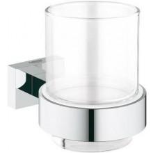 GROHE ESSENTIALS CUBE sklenička s držákem 107mm, sklo/chrom