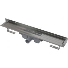 CONCEPT 100 podlahový žlab 750x60mm s okrajem pro plný rošt a pevným límcem ke stěně, nerez