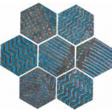 NAXOS RAKU dekor 35,5x37cm, esagona turquoise