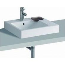 KERAMAG ICON umyvadlo 50x48,5cm, na desku, s otvorem pro baterii, s přepadem, s dekorativní miskou, bílá/Keratect 124550600