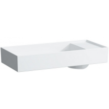 LAUFEN KARTELL BY LAUFEN umyvadlová mísa  750x350mm s tvarováním pro armaturu, bez otvoru, bez přepadu, bílá 8.1233.2.000.112.1