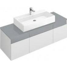 VILLEROY & BOCH MEMENTO spodní skříňka 1406x535x425mm, umyvadlo uprostřed, White Matt Lacquer/Glass Soft Grey