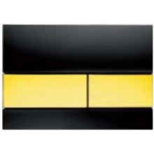 TECE SQUARE ovládací tlačítko 220x11x150mm, dvoumnožstevní splachování, sklo, černá/zlatá