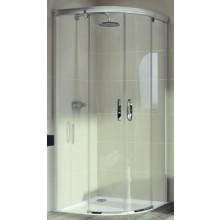 Zástěna sprchová čtvrtkruh Huppe sklo Aura elegance 800x800x1900mm stříbrná matná/čiré AP