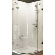 RAVAK BRILLIANT BSKK3 80 L sprchový kout 800x800x1950mm, R500, čtvrtkruhový, třídílný, chrom/transparent