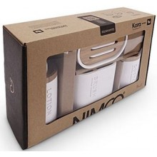 NIMCO KORA sada koupelnovných doplňků, bílá/polyserin, bambus