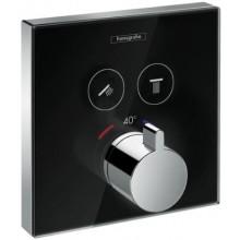 HANSGROHE SHOWERSELECT GLAS termostatická baterie 156x156mm, podomítková, vrchní díl, pro 2 spotřebiče, černá/chrom