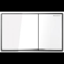 GEBERIT OMEGA 60 ovládací tlačítko 18,4x11,4cm, sklo bílé