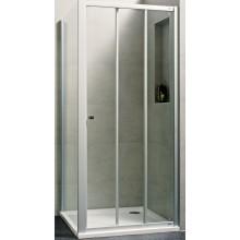 Zástěna sprchová čtverec - sklo Concept 100 NEW, posuvné dveře 3-dílné 1000x1000x1900 mm bílá/čiré AP