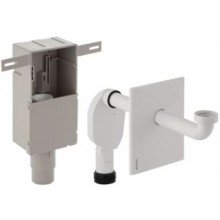 GEBERIT zápachová uzávěrka 50-56mm, pod omítku pro umyvadlo, s krabicí pro montáž do stěny, se šroubením pro odpadní ventil, alpská bílá