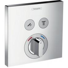 Ventil termostatický Hansgrohe podomítkový ShowerSelect pro 2 spotřebiče, vrchní sada  chrom