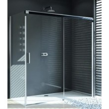 HÜPPE DESIGN PURE GT 1400 posuvné dveře 1400x1900mm jednodílné s pevným segmentem, stříbrná matná/čirá anti-plaque 8P0206.087.322.730