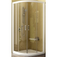 Zástěna sprchová čtvrtkruh Ravak sklo NRKCP4 90x190 cm satin/čiré sklo