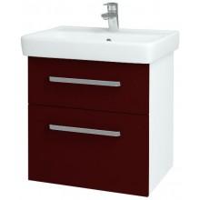DŘEVOJAS Q MAX 600 S skříňka s umyvadlem 545x560x438mm, závěsná, s úchytkou, bílá lak/S03 červená vysoký lesk