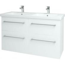 DŘEVOJAS BIG INN 125 4Z S koupelnová skříňka 120,5x47,8x72cm včetně umyvadla Norm 125, bílá vysoký lesk