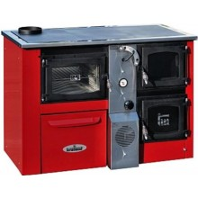 TEMY PLUS P 25 sporák na tuhá paliva 17kW, s teplovodním výměníkem, červená