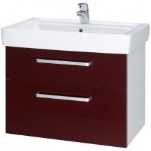 DŘEVOJAS Q MAX 700 S skříňka s umyvadlem 64,5x56x43,8xcm, závěsná, lak, bílá/červená vysoký lesk