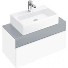 VILLEROY & BOCH MEMENTO spodní skříňka 806x370x460mm, umyvadlo uprostřed, White Matt Lacquer/Glass Soft Grey