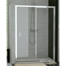 SANSWISS TOP LINE TOPS2 sprchové dveře 1200x1900mm, jednodílné posuvné, s pevnou stěnou v rovině, bílá/čiré sklo Aquaperle