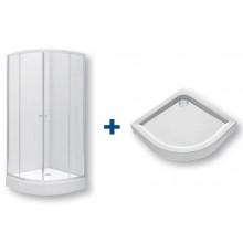KOLO FIRST sprchový kout  vanička 800x1900mm  800x800mm, čtvrtkruh, posuvné dveře, čiré sklo/stříbrná lesklá  bílá