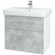 DŘEVOJAS Q MAX 700 skříňka s umyvadlem 645x560x434mm, závěsná, s úchytkou, bílá lak/D01 beton