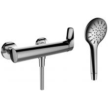 LAUFEN CURVEPLUS sprchová nástěnná páková baterie se sprchovou hadicí a ruční sprchou, chrom