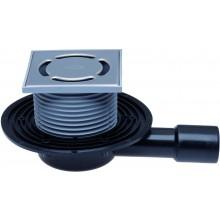 HL vpust DN40/50 podlahová, plochá, s vodorovným odpadem a zápachovou uzávěrou, polyetylen/nerez