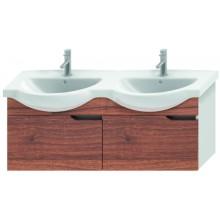 JIKA MIO umyvadlová skříňka pro nábytkové dvojumyvadlo 1256x340x505mm 2 zásuvky, bílá/ořech