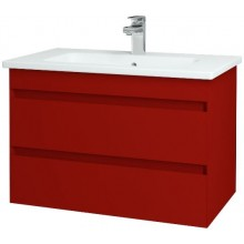 DŘEVOJAS MAJESTY 80 FC skříň 740x500x450mm, závěsná, s umyvadlem, L07 červená vysoký lesk