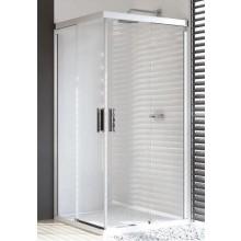 HÜPPE DESIGN PURE posuvné dveře 900x2000mm rohový vstup, 2-dílný, stříbrná lesklá/černá/sklo čiré AntiPlaque