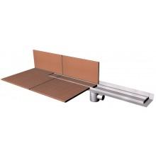Žlab podlahový AZP - PZ 014 ke stěně pro kachličky, se stavěcími nožkami 900x117x110mm, d=40 NEREZ