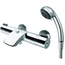 LAUFEN CURVEPRIME vanová termostatická nástěnná baterie se sprchovou hadicí a ruční sprchou, chrom 3.2370.7.004.145.1