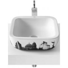 Mísa umyvadlová Roca bez otvoru Urban Berlin 732765G00U s přepadem 40 cm bílá+motiv