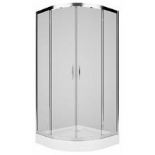 KOLO REKORD čtvrtkruhový sprchový kout 900x900mm posuvné dveře, stříbrná lesklá/čiré sklo PKPG90222003