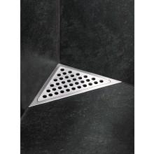 Odtokový žlab pro umístění v koutě. Žlab je opatřen dvěma stěnovými a jednou podlahovou přírubou.