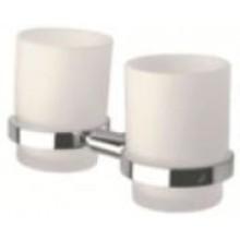 INDA STORM držák se skleničkou 19x10x10cm dvojitý, chrom/sklo