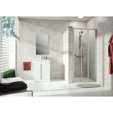 CONCEPT 100 NEW sprchové dveře 900x1900mm posuvné, 2-dílné, s pevným segmentem, stříbrná matná/čiré sklo s AP