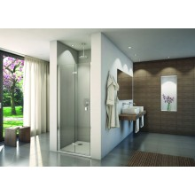 CONCEPT 200 CONF1 sprchové dveře 900x2000mm dvoudílné, skládací, panty vlevo, aluchrom/čiré sklo concept-Clean