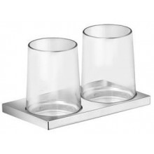KEUCO EDITION 11 držák koupelnových skleniček 182x105x114mm, dvojitý, včetně skleniček, chrom/sklo