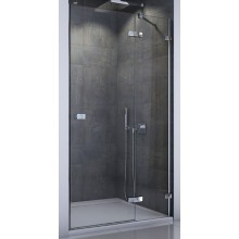 SANSWISS ESCURA ES13 sprchové dveře 800x2000mm jednokřídlé, s pevnou stěnou v rovině, levé, aluchrom/čiré sklo