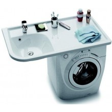 RAVAK PRAKTIK W speciální umyvadlo určené nad pračku 650x1160x190mm z litého mramoru, pravé s otvorem, bílá