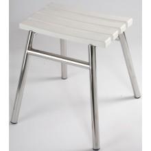 AZP BRNO REHA stolička do sprchy bez opěrky, nerez-lesk/plast-bílá