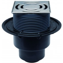 HL vpust DN50/75/110 podlahová, se svislým odpadem a izolační přírubou, polyetylen/nerez