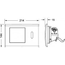 TECE PLANUS ovládací tlačítko 214x144mm, elektronické splachování 230/12V, s IR senzorem, lesklá bílá