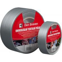 DEN BRAVEN univerzální páska 50mmx10m, textilní, stříbrná